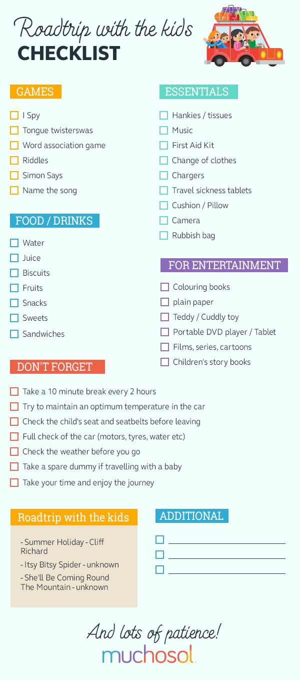 road trip with kids checklist