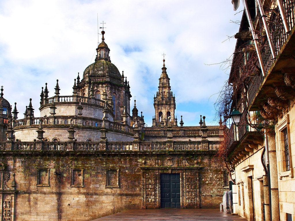 The famous cathedral of Santiago de Compostela
