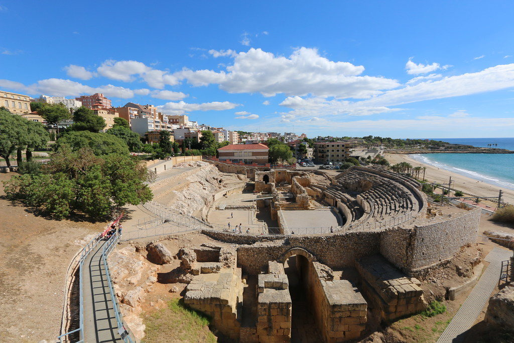The Roman amphitheater in Tarragona overlooking The Mediterranean